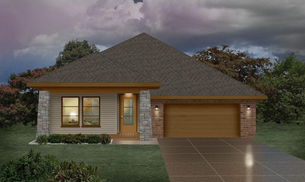 High quality photo-realistic rendering of a modern ranch home with brick garage