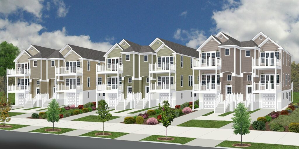 A photo-realistic 3D rendering of combined townhouses in various colors.