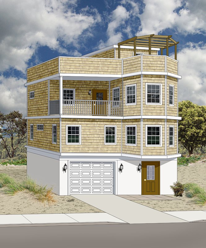 3D rendering of a beach home with yellow siding