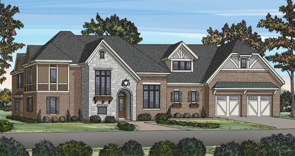 An expansive home rendering featuring stone and brick