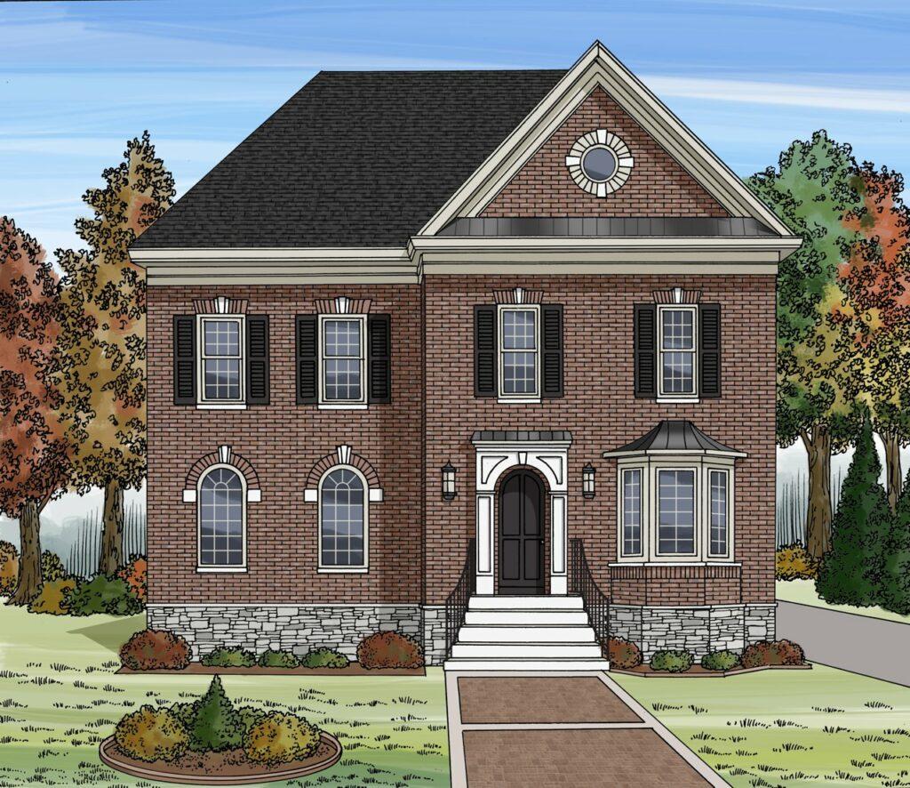 Classic brick home illustration