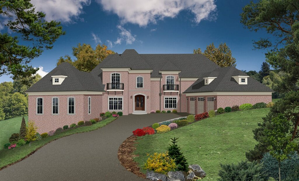 A large photo realistic mansion rendering with many architectural details