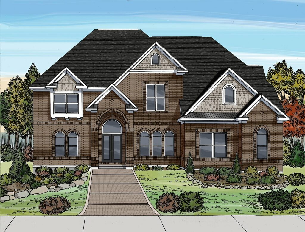 2D illustrated rendering of a brick home