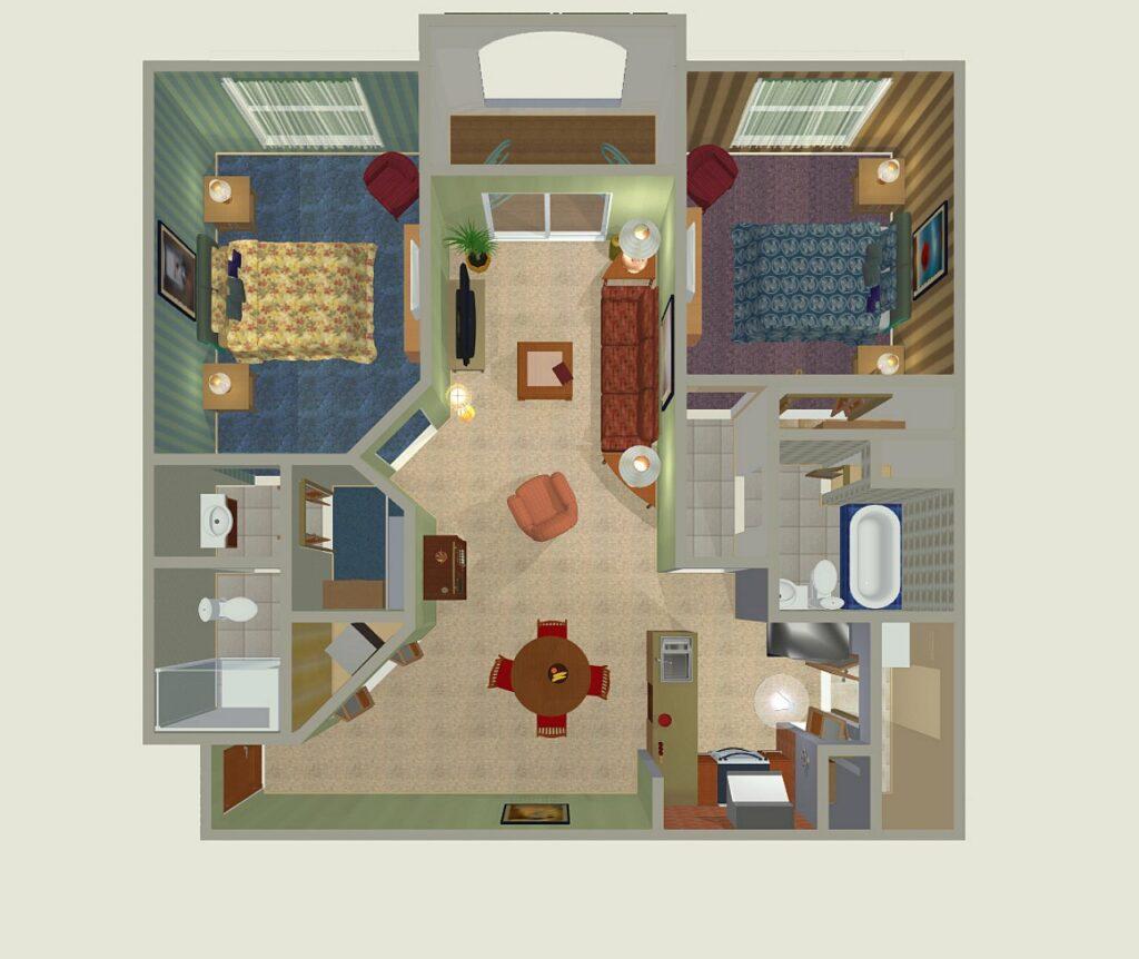 3D residential floor plan rendering