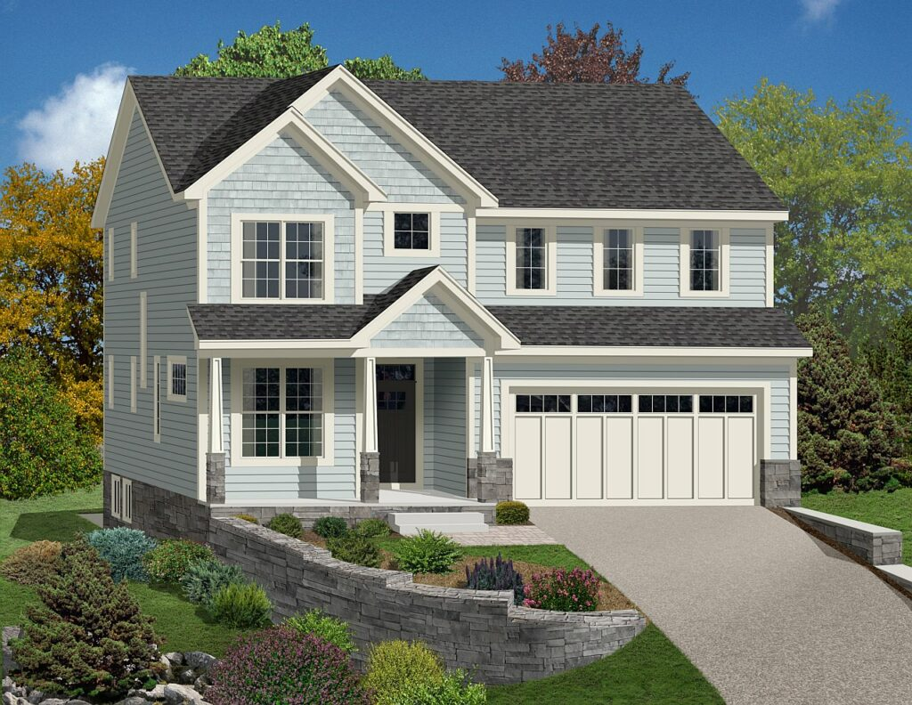 modern 3 story home rendering with blue siding