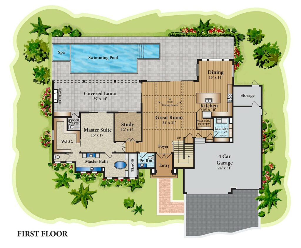 residential color floor plan drawing