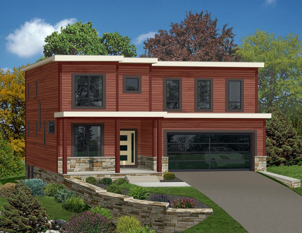 rendering of a modern 3 story home with garage