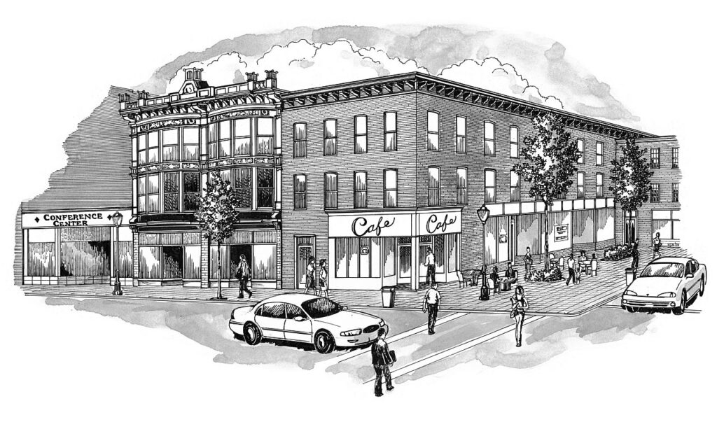 drawing of commercial exterior