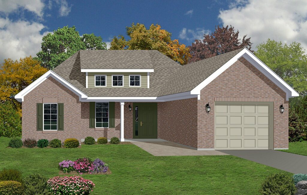 photo-realistic brick ranch home rendering