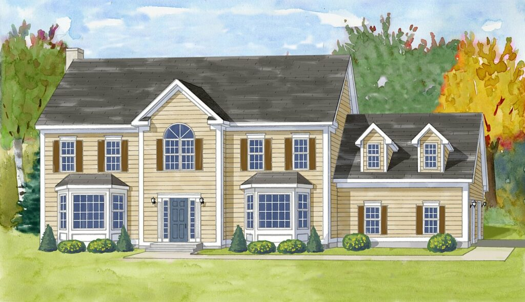 watercolor rendering of a classic colonial home