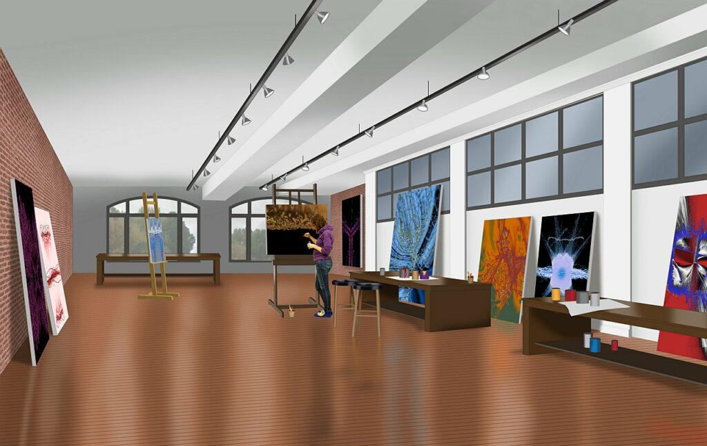 interior color commercial rendering of an art studio