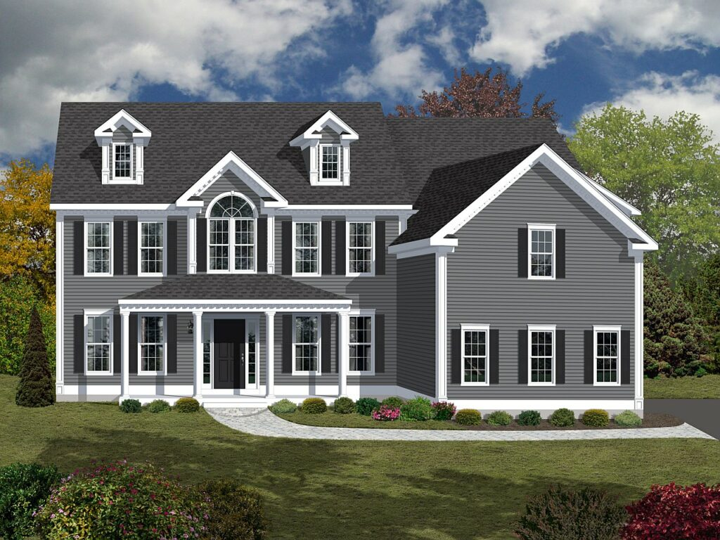 3D color rendering of a New England colonial home.