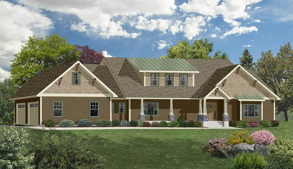 earth colored two story home rendering with cedar siding