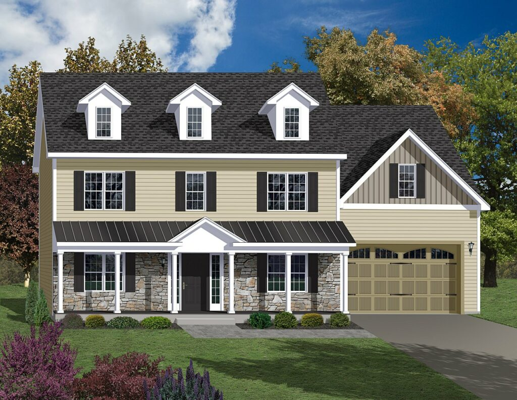 home rendering with modernized classic features