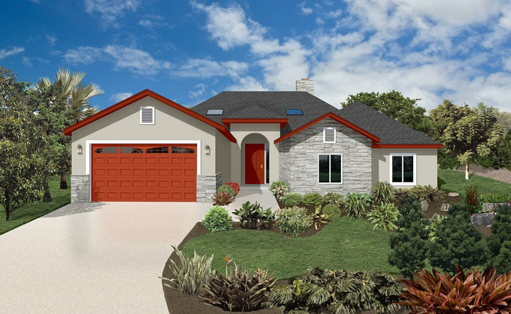 ranch style rendering with gray flagstone and bold red accents