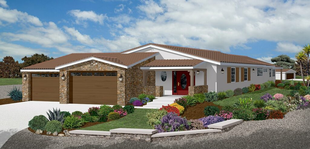 photo realistic large ranch home rendering with brick garage in front