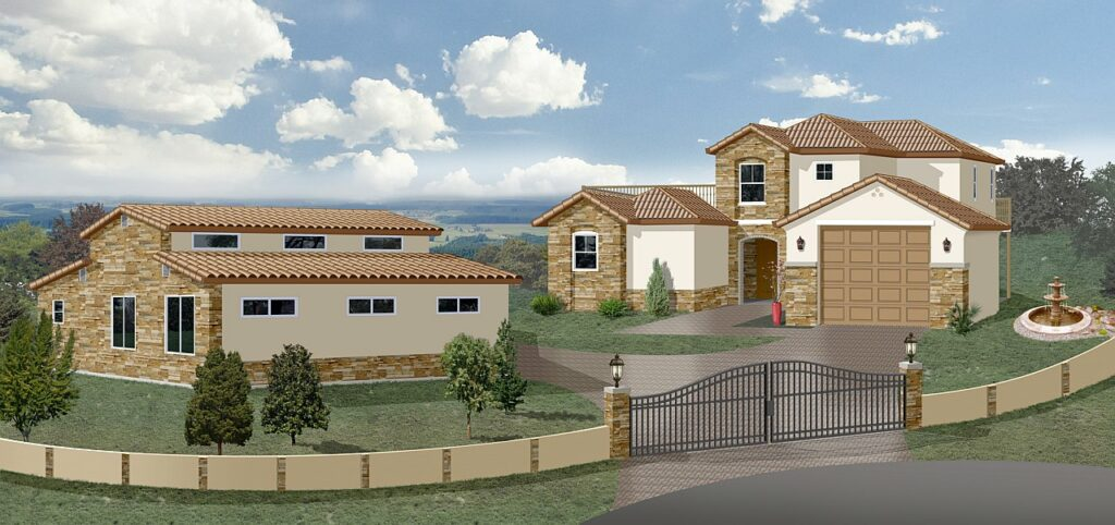 Italian style villa gated home 3D rendering