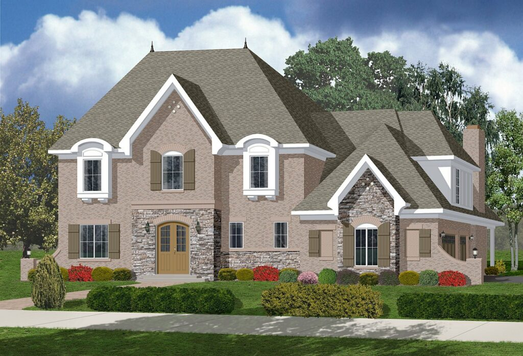 Photo realistic rendering with soft effect-stone, brick & hip roof