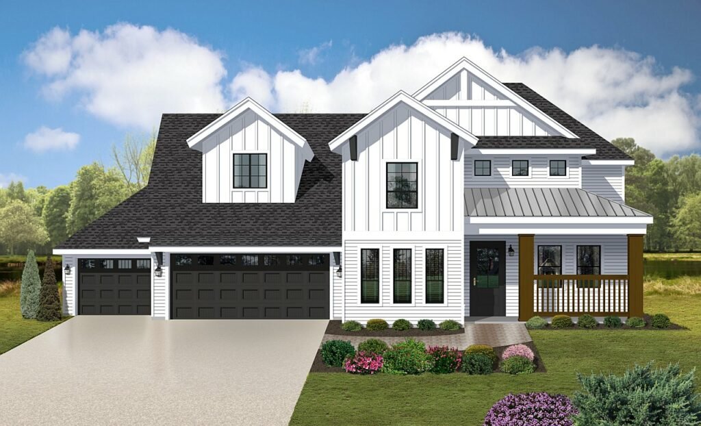 Modern mid-western home rendering featuring a partial metal roof