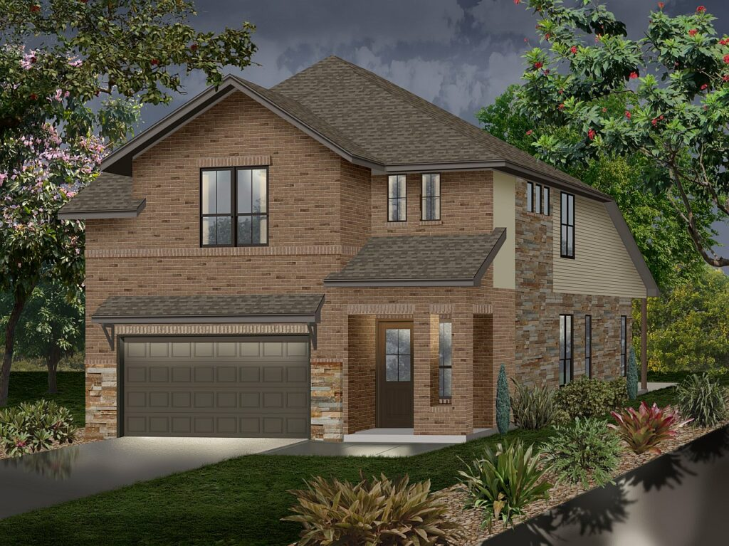 Two story, brick & stone photo realistic home rendering
