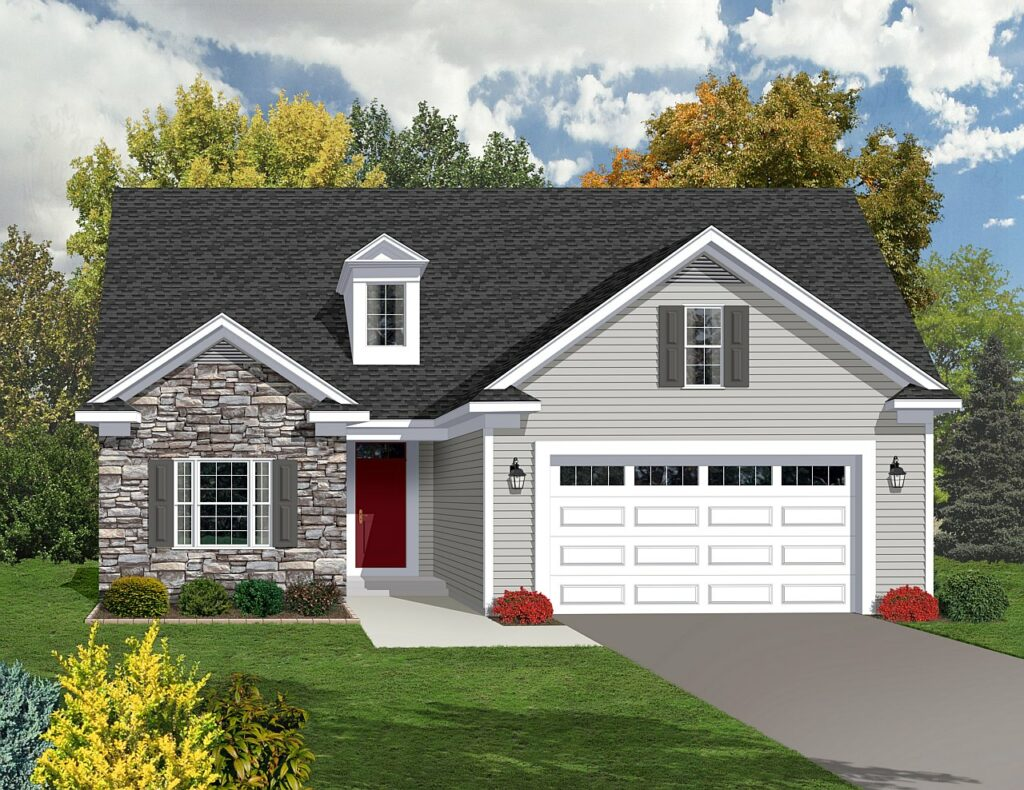 Ranch style home rendering shown with gray stone & dormer