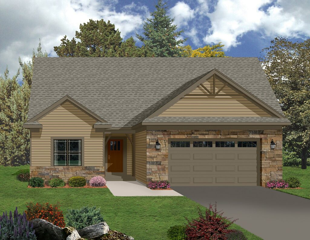 Flagstone and siding ranch style rendering