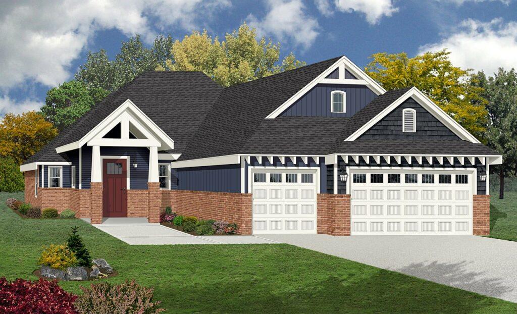Modern, craftsman style with brick & 3 car garage rendering