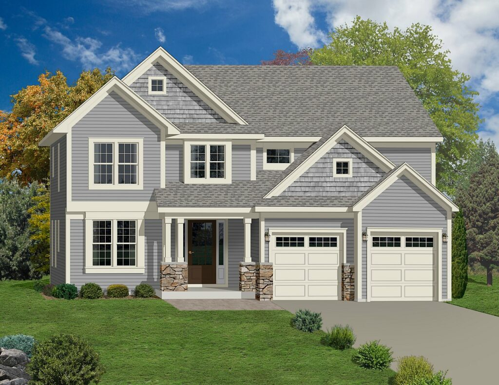 Stone & siding, two story home rendering
